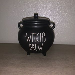 Rae Dunn witch's brew Halloween cauldron jar